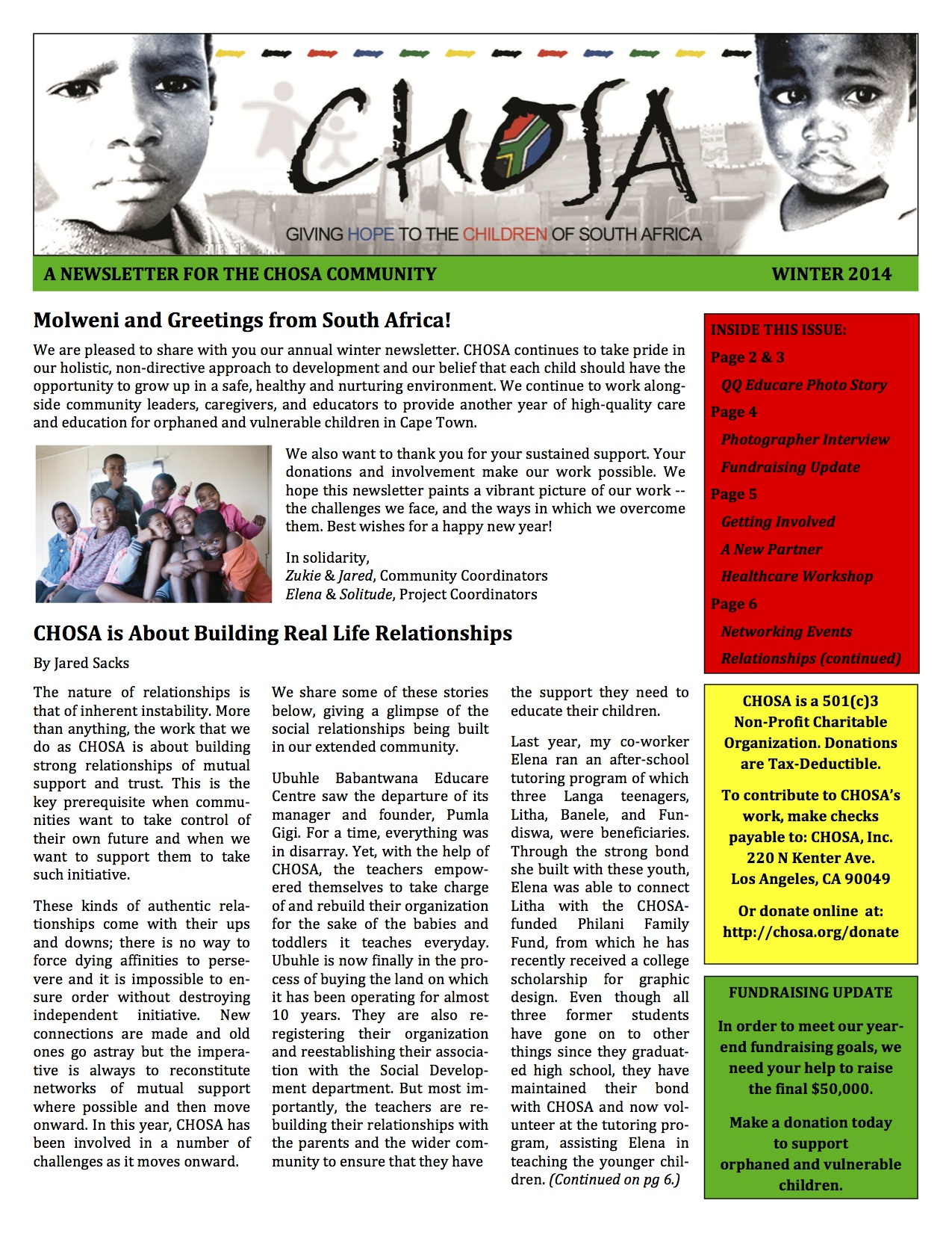 CHOSA Newsletter 2014_Front Pagel